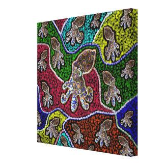 Toile Art bagué bleu australien de point,