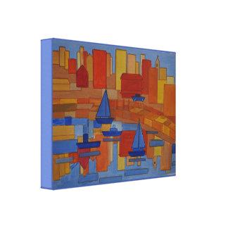 Toile Art cubique de style d'abrégé sur carré port