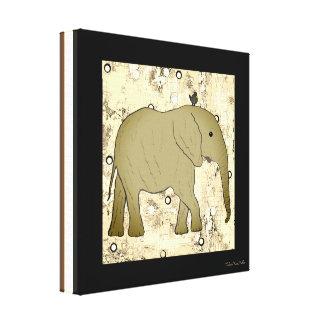 Toile Art de coutume d'éléphant et d'oiseau