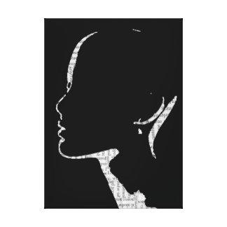 Toile Art de silhouette de mode d'impression de journal