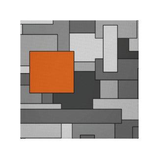 Toile Art géométrique d'abrégé sur orange gris