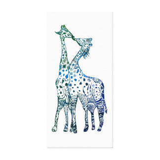 Toile Baiser de girafes dessinant la copie simple