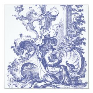 Toile baroque français bleu élégant carton d'invitation  13,33 cm