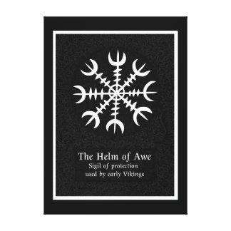 Toile Barre de signe magique islandais de crainte - noir