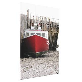 """Toile Bateau de pêche rouge itinéraire"""" la"""