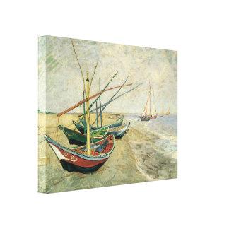 Toile Bateaux de pêche sur la plage par Vincent van Gogh