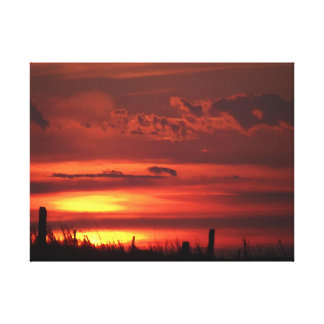 Toile Beau lever de soleil orange de pays
