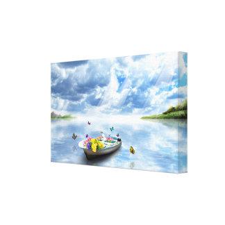 Toile Beauté de nature - papillons de bateau de lac