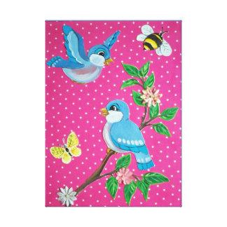 Toile Bébé vintage de regard d'oiseau bleu gai, art de