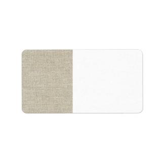 Toile beige rustique imprimée étiquette d'adresse