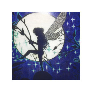 Toile Belle fée devant le clair de lune