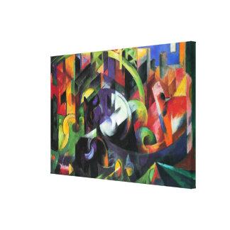 Toile Bétail par Franz Marc, beaux-arts abstraits de cru