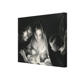 Toile Blanc de noir d'anges de Vierge Marie de Jésus de