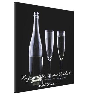 Toile Blanc inspiré de noir de cannelure de Champagne de