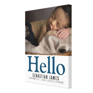 Toile Bonjour souvenir personnalisé nouveau par bébé