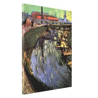 Toile Canal de Van Gogh avec le lavage de femmes