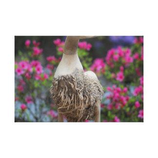 Toile Canard en bois avec des fleurs