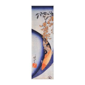 Toile Carpe rouge d'Utagawa Kuniyoshi sous des glycines