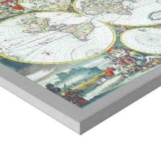 Toile Carte antique du 17ème siècle du monde, Frederick