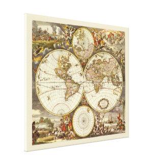 Toile Carte antique du monde, C. 1680. Par Frederick de