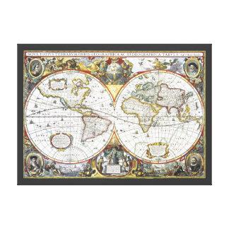 Toile Carte antique du monde par Hendrik Hondius, 1630