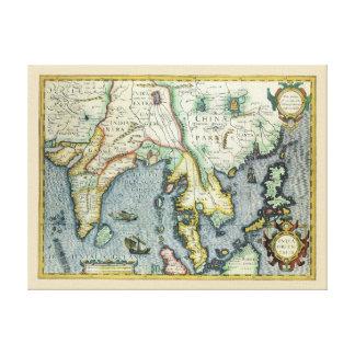 Toile Carte asiatique antique du 17ème siècle,