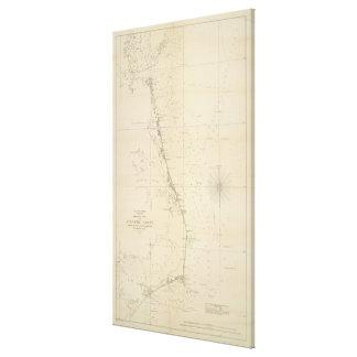 Toile Carte côtière vintage de la Caroline du Nord et de