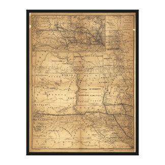 Toile Carte de territoire du Dakota (1er novembre 1882)