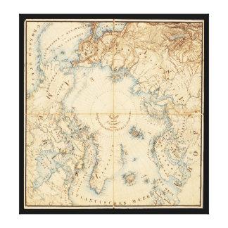 Toile Carte des régions arctiques et limitrophes (1855)