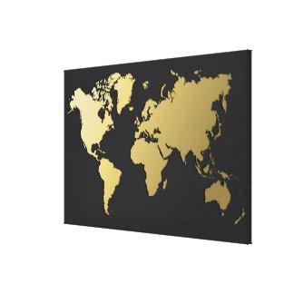 Toile Carte du monde d'or sur Chevron noir