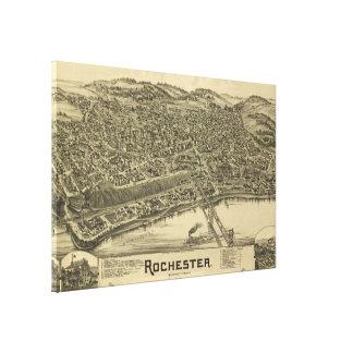 Toile Carte imagée vintage de Rochester PA (1900)