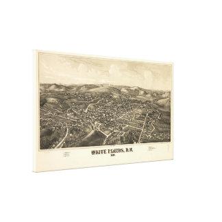Toile Carte imagée vintage de White Plains NY (1887)