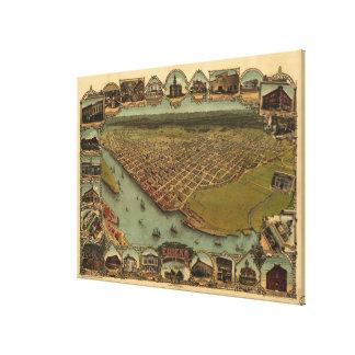 Toile Carte imagée vintage d'Eureka la Californie (1902)