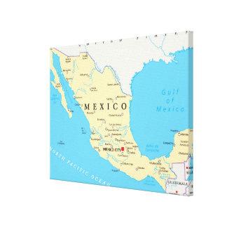 Toile Carte politique du Mexique