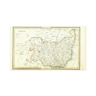Toile Carte vintage antique du Suffolk (Angleterre)