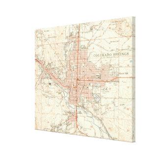 Toile Carte vintage de Colorado Springs CO (1951)