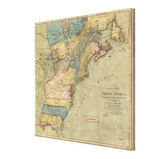 Toile Carte vintage de découverte des Amériques (1771)