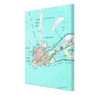 Toile Carte vintage de Key West la Floride (1962)