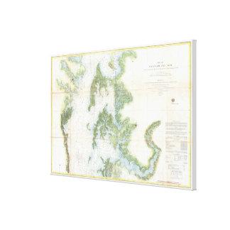 Toile Carte vintage de la baie de chesapeake (1857) 2