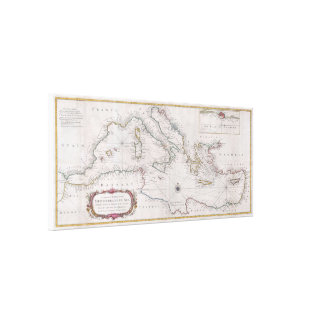 Toile Carte vintage de la mer Méditerranée (1745)