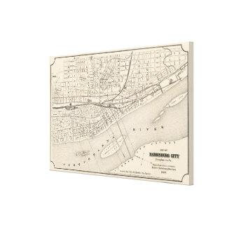 Toile Carte vintage de la PA d'Harrisburg (1877)