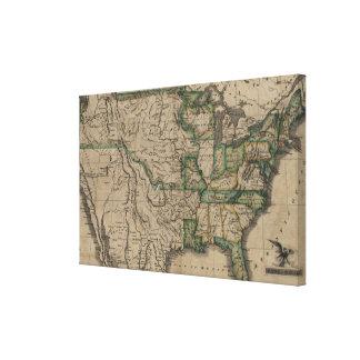 Toile Carte vintage des Etats-Unis (1823)