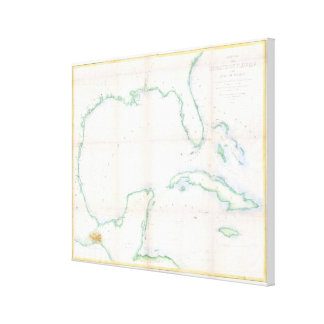 Toile Carte vintage du Golfe du Mexique (1852)