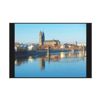 Toile Cathédrale de Magdebourg avec la rivière Elbe 01