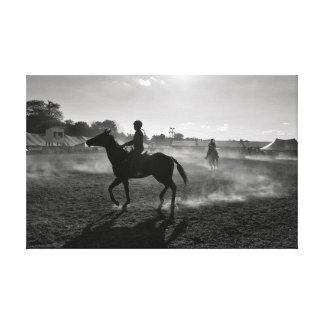 Toile Cavalier de cheval à l'aube