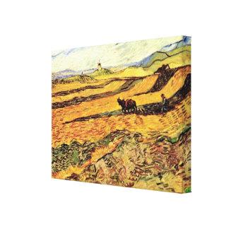 Toile Champ de Van Gogh avec le laboureur et le moulin,
