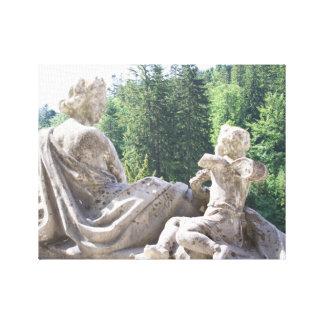 Toile Château roumain de Peles d'impression de statue