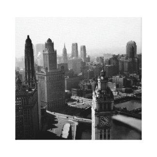 Toile Chicago Skyline1930 de photographie ci-dessus de