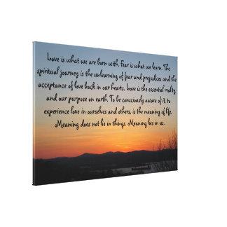 Toile Citation d'amour du coucher du soleil   de
