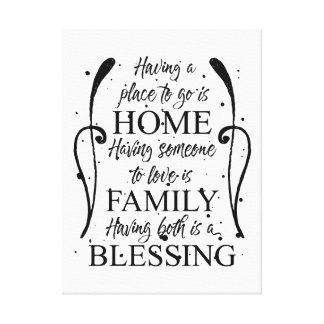 Toile Citation inspirée au sujet de maison - famille -